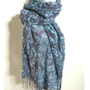 Accessories - Women's Scarf Blue on Blue Floral Rectangle Fringe